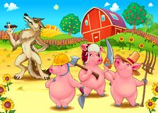 Three little pigs and bad wolf. Stock Photos