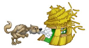 Three Little Pigs Big Bad Wolf Blowing Straw House. An illustration from the three little pigs childrens fairytale story, of the big bad wolf cartoon character Stock Images