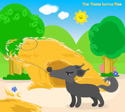The three little pigs 4: the big bad wolf. The big bad wolf blows away the straw house. Vector for children Royalty Free Stock Photography