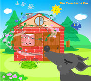 The three little pigs 10: blowing wolf. The three scared pigs are hiding in the bricks house while the big bad wolf is blowing. Vector for children Stock Photography