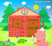 The three little pigs 8: bricks house finished Royalty Free Stock Photography