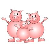 Three Little Pigs Cartoon. An illustration featuring 3 pigs standing in a row Stock Photography