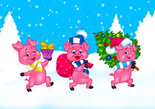 Three Little Pigs Christmas cartoon Stock Photo