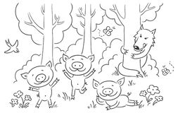 Three little pigs fairy tale. No gradients Stock Photography