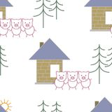 Three little pigs fairy tale. Vector illustration isolated on white background. Seamless pattern. Stock Photography