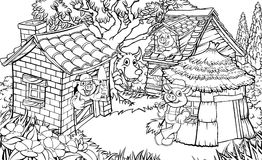 The Three Little Pigs Fairytale. Coloring scene from the childrens fairytale story of  the three little pigs. The 3 pigs with their houses and the  big bad wolf Stock Photography