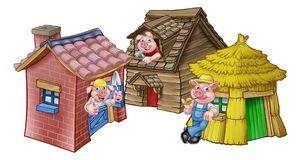 The Three Little Pigs Fairytale Houses. A cartoon illustration from the three little pigs childrens fairytale story, of the 3 pig characters with their straw Vector Illustration