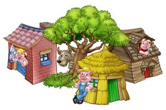 The Three Little Pigs Fairytale. An illustration from the three little pigs childrens fairytale story, of the 3 pig cartoon characters with their straw, wooden Stock Images