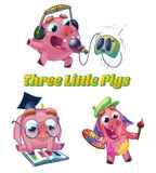Three little pigs illustration. Three Little Pigs from Classic Fairy Tale. Musician, scientist and artist characters. Cartoon raster illustration on white Stock Photo