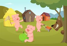 Three little pigs near their small houses and scary wolf. Three pigs and house, fairytale story. Vector illustration Royalty Free Stock Images
