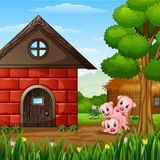 Three little pigs are playing. Illustration of Three little pigs are playing Stock Images