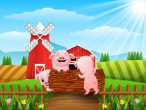 Three little pigs playing logs. Illustration of Three little pigs playing logs Stock Images
