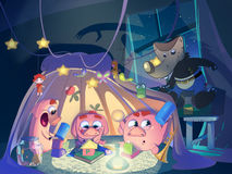 Three little pigs in the playing tent. Kids book cover. Digital background raster illustration Stock Images
