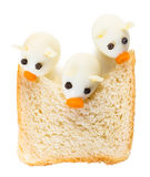 Three Little Pigs from quail eggs. And a slice of bread Royalty Free Stock Photography