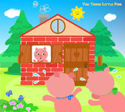 The three little pigs 9: scared piglets. The two scared pigs are running to the bricks house. Vector for children Stock Photo