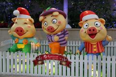 Three Little Pigs. These three little pigs mascots were used as part of the decoration for Christmas in RWS Royalty Free Stock Image