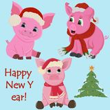 Three little pink piglets in Santa`s hat and a scarf around the neck symbol of the new 2019 Chinese calendar stock illustration