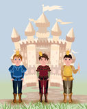 Three little prince and fairy tale castle Royalty Free Stock Photos