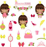 Three little princesses and fashion accessories Stock Photos