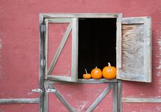 Pumpkins in barn window Royalty Free Stock Photo