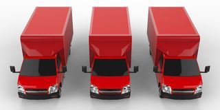 Three little red truck.. Car delivery service. Delivery of goods and products to retail outlets. 3d rendering. Stock Photos