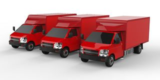 Three little red truck.. Car delivery service. Delivery of goods and products to retail outlets. 3d rendering. Royalty Free Stock Photo