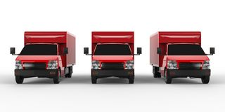 Three little red truck.. Car delivery service. Delivery of goods and products to retail outlets. 3d rendering. Stock Images