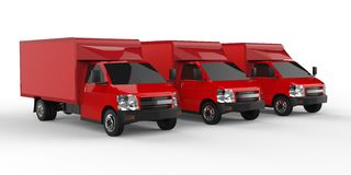 Three little red truck.. Car delivery service. Delivery of goods and products to retail outlets. 3d rendering. Stock Photo