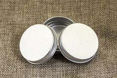 Three little Round tin can. A three little Round tin can Stock Image