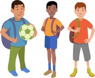 Three little school boys characters. Set of three little school boys characters ready for school Royalty Free Stock Photos