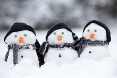 Three little snowmen with hats. Three little snowmen wih hats and scarfs sat in the snow Stock Images