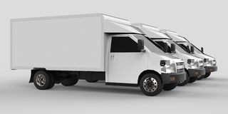 Three little white truck.. Car delivery service. Delivery of goods and products to retail outlets. 3d rendering. Stock Photography