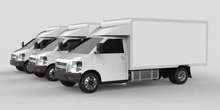 Three little white truck.. Car delivery service. Delivery of goods and products to retail outlets. 3d rendering. Stock Photos