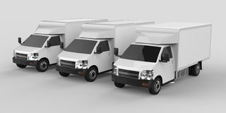 Three little white truck.. Car delivery service. Delivery of goods and products to retail outlets. 3d rendering. Royalty Free Stock Photography