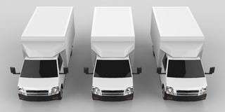 Three little white truck.. Car delivery service. Delivery of goods and products to retail outlets. 3d rendering. Three little white truck.. Car delivery service Stock Photography