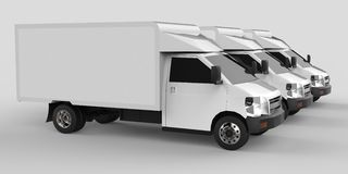 Three little white truck.. Car delivery service. Delivery of goods and products to retail outlets. 3d rendering. Three little white truck.. Car delivery service Royalty Free Stock Photography