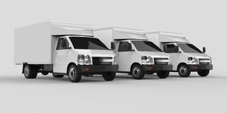 Three little white truck.. Car delivery service. Delivery of goods and products to retail outlets. 3d rendering. Three little white truck.. Car delivery service Stock Images