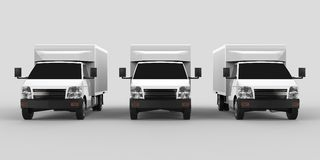 Three little white truck.. Car delivery service. Delivery of goods and products to retail outlets. 3d rendering. Three little white truck.. Car delivery service Royalty Free Stock Photo