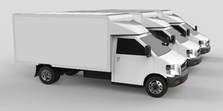 Three little white truck.. Car delivery service. Delivery of goods and products to retail outlets. 3d rendering. Three little white truck.. Car delivery service Stock Photos