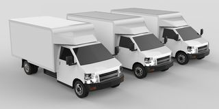 Three little white truck.. Car delivery service. Delivery of goods and products to retail outlets. 3d rendering. Three little white truck.. Car delivery service Stock Photo