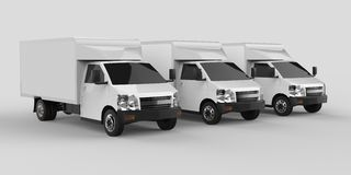 Three little white truck.. Car delivery service. Delivery of goods and products to retail outlets. 3d rendering. Three little white truck.. Car delivery service Stock Image