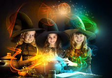 Three little witches. Three little Halloween witches reading conjure from magic book Stock Image