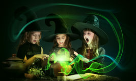 Three little witches Stock Photo
