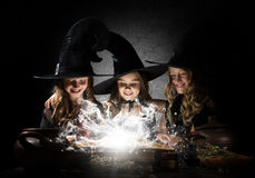 Three little witches Stock Images