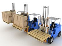 Three loaders with cargo and without cargo Royalty Free Stock Photography