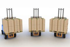 Three loaders with cargo Stock Photo