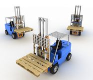 Three loaders without cargo Royalty Free Stock Photography