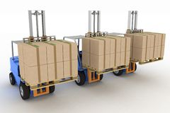 Three loaders with cargo Stock Image