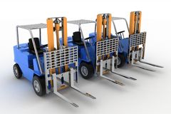 Three loaders without cargo Stock Photo