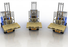 Three loaders without cargo Royalty Free Stock Image